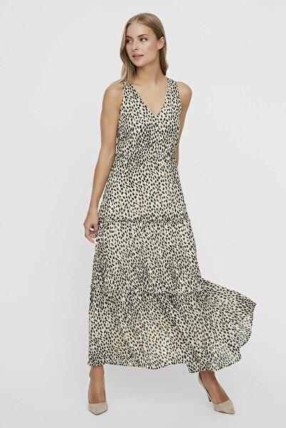 Vero Moda Kadın Ekru V Yaka Kolsuz Bilek Boyunda Elbise 10230682 VMPENNY