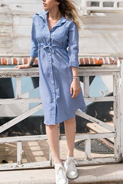 XHAN Kadın Mavi Kareli Beli Bağcıklı Elbise 0yxk6-43348-12