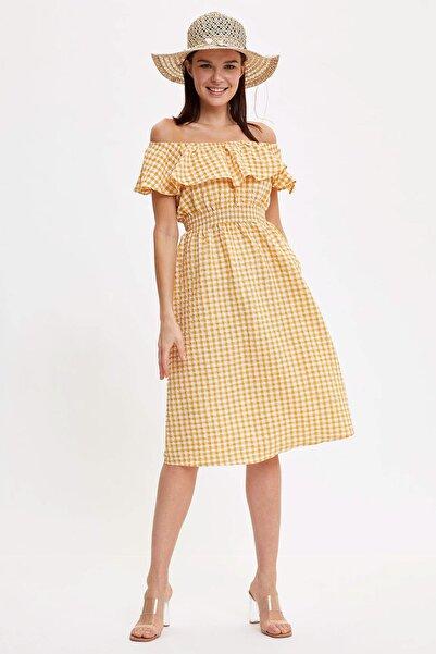 Kadın Sarı Fırfırlı Dokuma Elbise R1737AZ.20SM.YL148