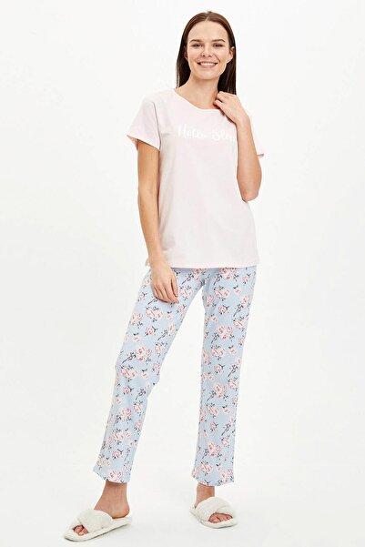 DeFacto Kadın Mavi Baskılı Pijama Takımı R3838AZ.20SM.BE343