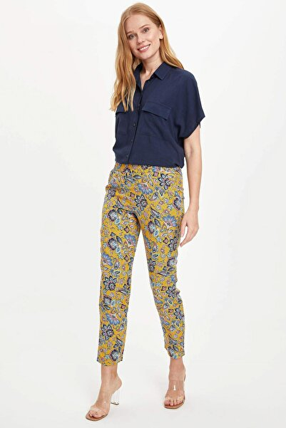 Kadın Sarı Harem Desenli Beli Lastikli Dokuma Pantolon R2204AZ.20SP.BG413