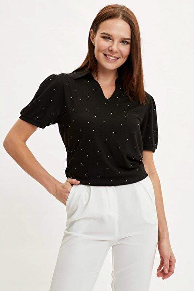 Kadın Siyah Polo Yaka Desenli T-Shirt N9069AZ.20SM.BK27