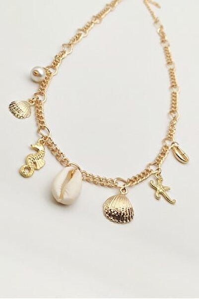 Kadın Deniz Kabuklu Kolye Altın Sarısı