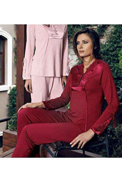İmaj Miss Charmen 2020 Kadın Ikili Uzun Kol V Yaka Pijama Takım - Bordo