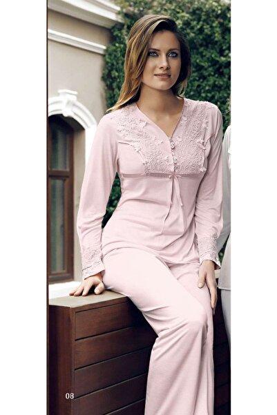 İmaj Miss Charmen 2023 Kadın Ikili Uzun Kol V Yaka Pijama Takım - Pudra