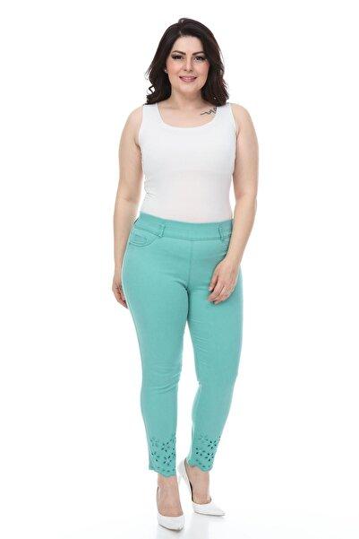 Modayız Oyma Nakışlı Mint Pantolon 30y-1067