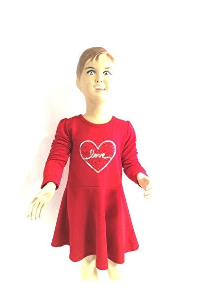 Breeze Kız Çocuk Love Kalpli Yeni Sezon Elbise 13146 Kırmızı