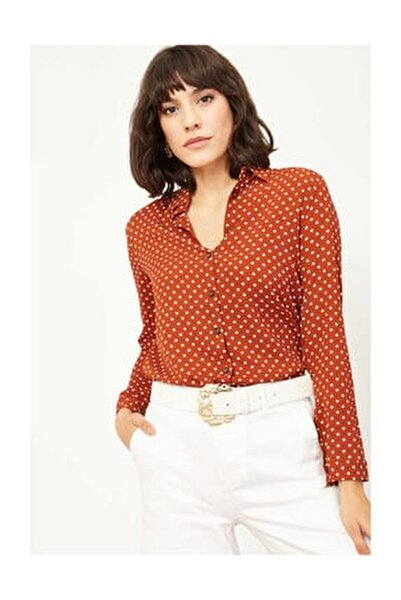 Kadın Puantiyeli Viskon Gömlek