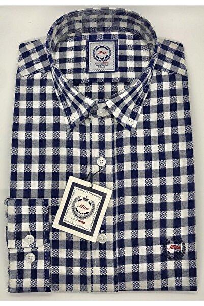 Mito Erkek Lacivert Yaka Düğmeli Slim Fit Spor Gömlek