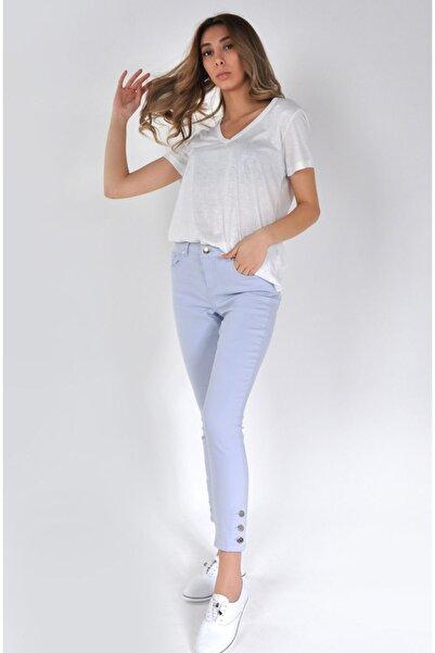 Min Jeans Kadın Buz Mavisi Paçası Düğme Detaylı Skinny Jeans Mın-024y
