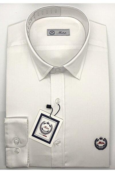 Mito Erkek Beyaz Klasik Slim Fit Gömlek