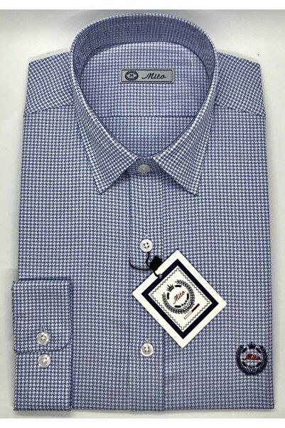 Mito Erkek Mavi Kaz Ayağı Desenli Klasik Slim Fit Gömlek