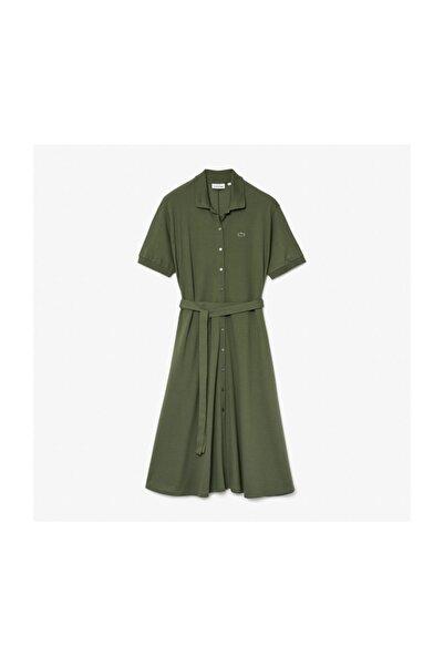 Kadın Haki Polo Yaka Kısa Kollu Elbise