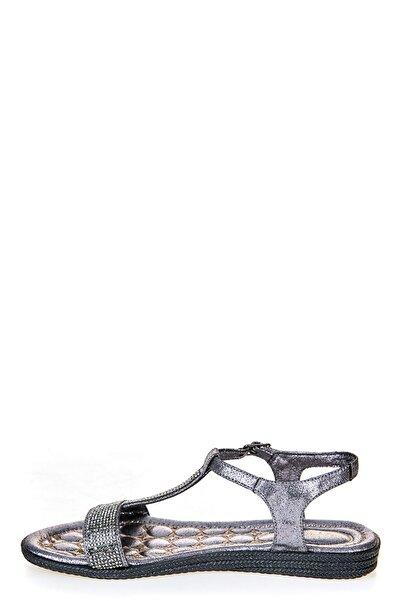 Sateen Kadın Platin Taş Detaylı Sandalet