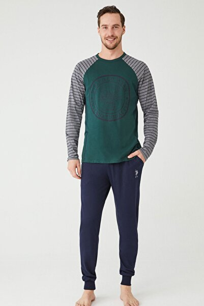 U.S POLO Erkek Yeşil Yuvarlak Yaka Pijama Takım