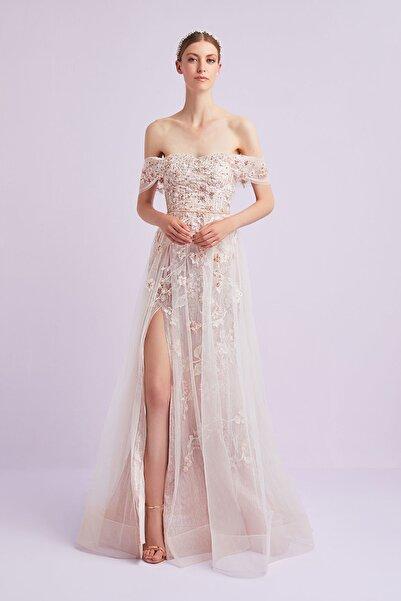 Oleg Cassini Kadın Taş Rengi Çiçekli Madonna Yaka Tüllü Romantik Abiye Elbise 4XLVC4732