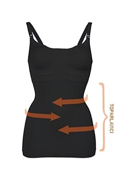 Akdağ Sportswear Toparlayıcı Miğde Ve Göbek Korseli Organik Koton Dikişsiz Siyah Emzirme Atleti