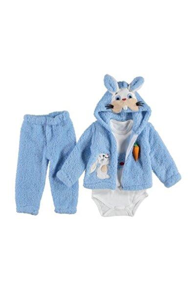 Rico Erkek Bebek Mavi Kapüşonlu Tavşan 3'lü Takım