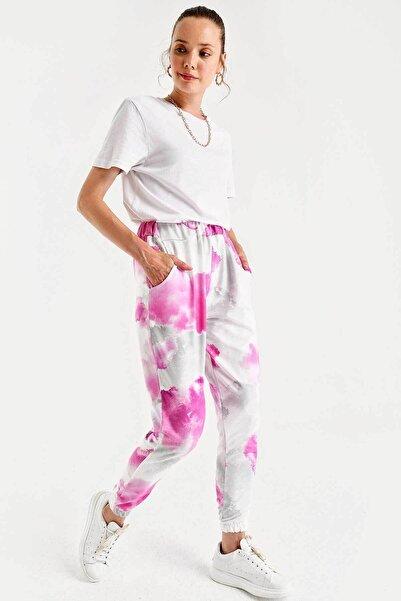 Bigdart Kadın Pembe Batik Desenli Jogger Pantolon 6484