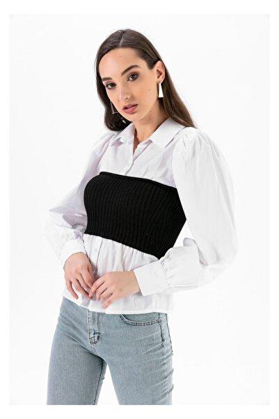 TIFFANY&TOMATO Kadın Siyah Beli Korseli Gömlek