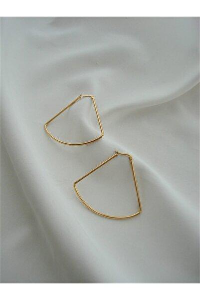 Accessories Altın Rengi Üçgen Dilim Küpe
