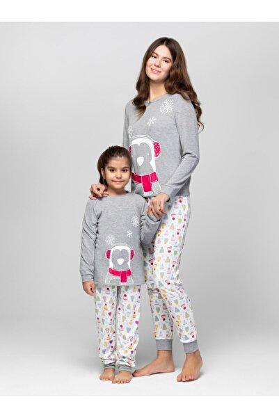 JUST BASIC Kadın Gri Penguen Anne Kız Pijama Takımı