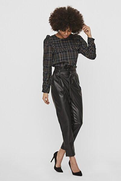 Vero Moda Kadın Siyah Paperbag Kaplama Deri Pantolon 10235819 VMEVA