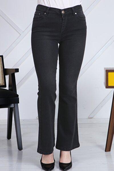 Gül Moda Antrasit Ispanyol Paça Likralı Yüksek Bel Kot Pantolon Jeans G00ipsi