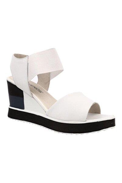 Venüs Kadın Beyaz Hakiki Deri Casual Günlük Sandalet