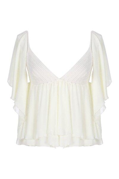 Meltem Özbek Kadın Beyaz Şifon Örme Detaylı Bluz
