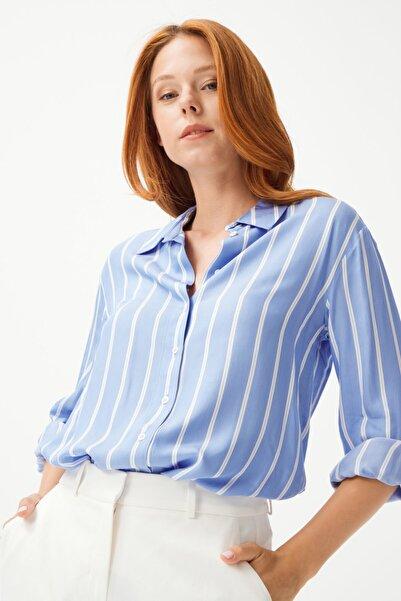 Love My Body Kadın Mavi Yaka Çizgili Gömlek