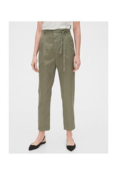 GAP Kadın Yeşil Paperbag-Waist Khaki Pantolon 542981