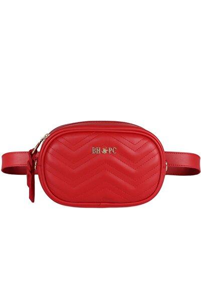 Beverly Hills Polo Club Kadın Zikzak Desenli Bel Çantası Kırmızı