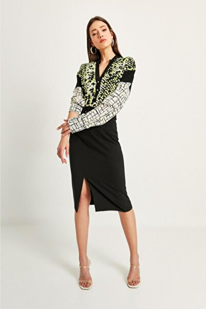 Say Kadın Yeşil Yanı Siyah Kuplu Geometrik Desen Bluz