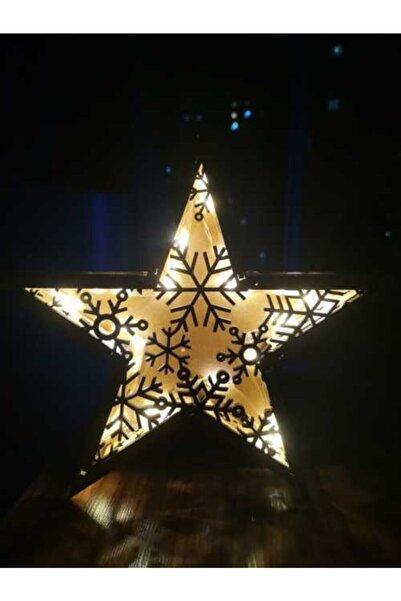 FEEL ME Yıldız Led Pilli Ahşap Gece Lambası Led Işıklı Mumluk