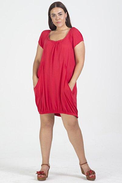 Şans Kadın Kırmızı Cep Detaylı Viskon Tunik Elbise 65N19363