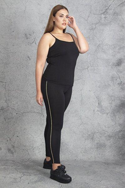 Şans Kadın Gold Yan Sim Şeritli Tayt Pantolon 65N19252