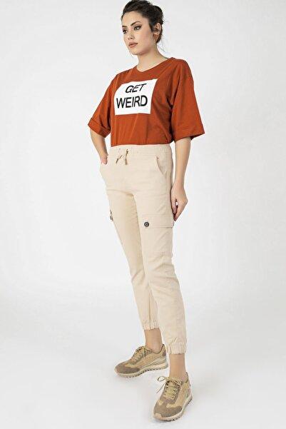 Arma Life Kadın Bej Beli Paçası Lastikli Pantolon