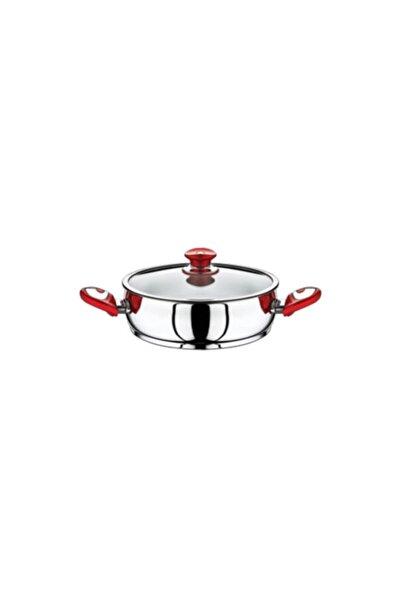 SAFINOX 26 Cm Kırmızı Kısa Çelik Tencere