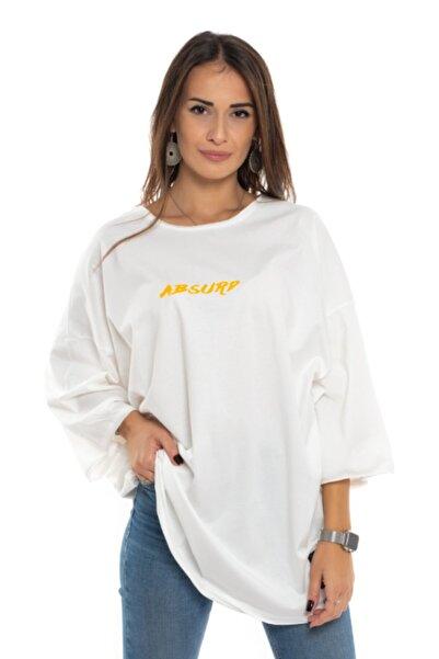 GLOGGY Kadın Beyaz Oversıze Tom And Jerry Baskılı T-shirt Glg-mfl-002