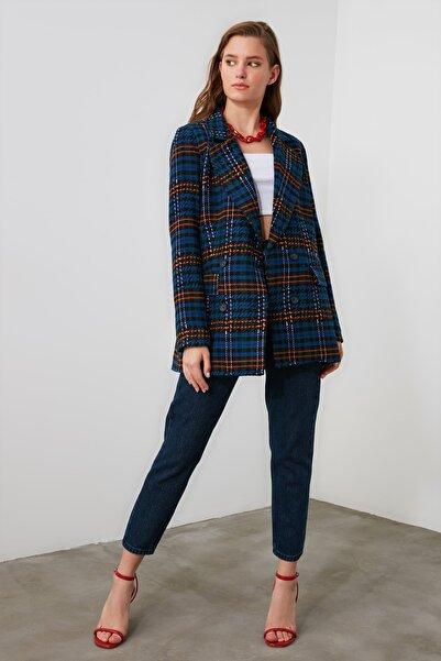 TRENDYOLMİLLA Çok Renkli Ekoseli Düğmeli  Blazer Ceket TWOAW21CE0187