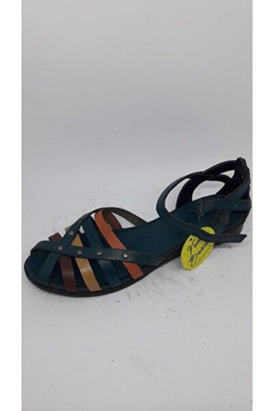 Mammamia Kadın Mavi Hakiki Deri Sandalet