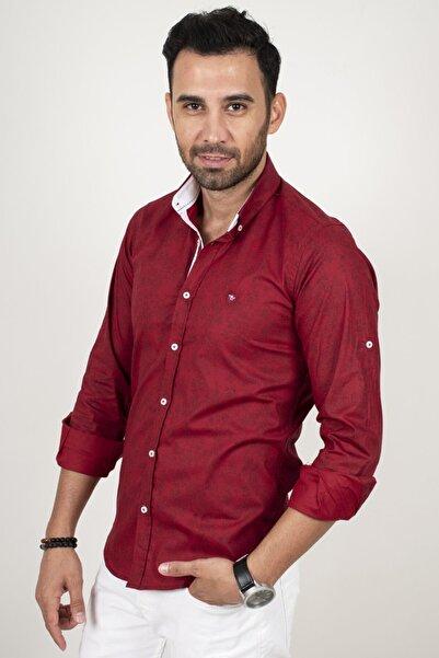 DeepSEA Erkek Bordo Desenli Katlanabilir Kol Regular Fit Gömlek 2003455