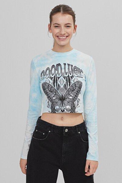 Bershka Kadın Açık Mavi Batik Desenli T-shirt
