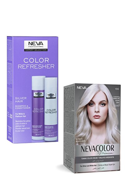 NEVA KOZMETİK Neva Premium Gümüş Kit Boya + Mor Şampuan + Mor Saç Kremi - 3'lü set NEVASET1-1