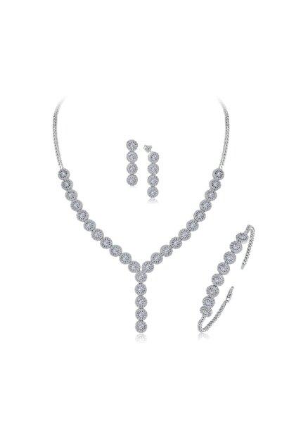 Mia Vento Kadın Gümüş Pırlanta Montür Papatya Su Yolu Set
