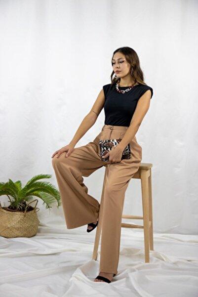 Quzu Kadın Kahverengi Bol Paça Pantolon