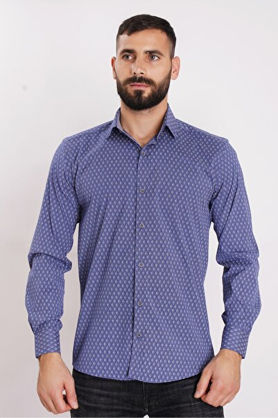 COMİENZO Erkek Lacivert Slim Fit Gömlek