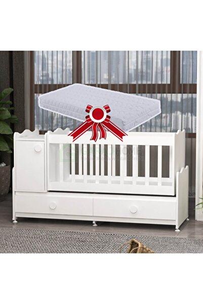 Garaj Home Pırlanta Mdfli Büyüyen 60x120 Beşik + Yatak- Beyaz