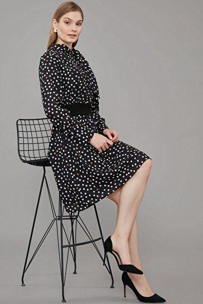 Journey Kadın Siyah Kravat Bağlama Detaylı, Bel Lastik Garnili Elbise